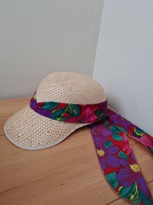Cappello di paglia beige chiaro-magenta