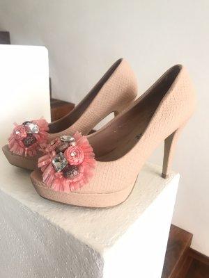 Letzter Preis!!! * Traumhaft schöne Peeptoe-High Heels * mit Bast, Schmucksteinen und Strass