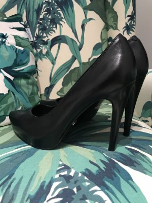 5th Avenue High Heels black-silver-colored leather