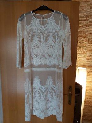 Twin set Koronkowa sukienka w kolorze białej wełny