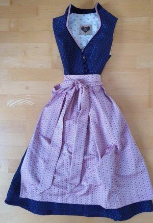 Alpenherz Dirndl roze-donkerblauw