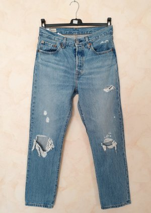 Levi's 501 Crop Jeans Slim Fit High Waist Destroyed Montgomery Patched W27 L28