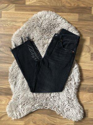 Levi's: 501 Straight Jeans Black mit Nieten
