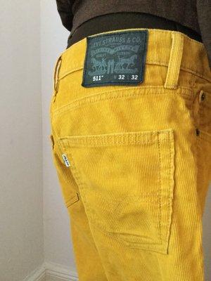 Levi's Pantalon en velours côtelé orange doré coton
