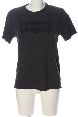 Levi's Basic-Shirt hellgrau-schwarz Schriftzug gedruckt Casual-Look