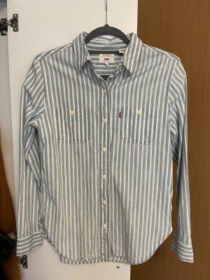 Levi's Chemise à manches longues blanc-bleu clair lin
