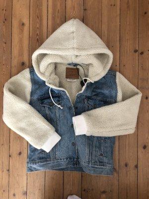 Levi's Ex Boyfriend Trucker Denim Sherpa Jacket Jeans Fell Pelz Teddy