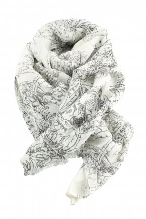 Levi's Fringed Scarf natural white-black allover print casual look