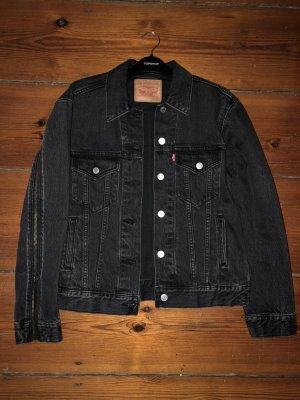 Levi`s Jeansjacke Grau mit Zippern mit Reißverschlüssen Denimjacke S