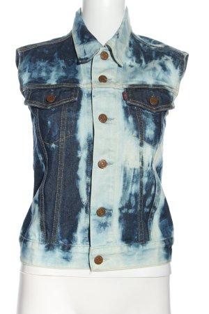 Levi's Spijkervest blauw-wit abstract patroon casual uitstraling