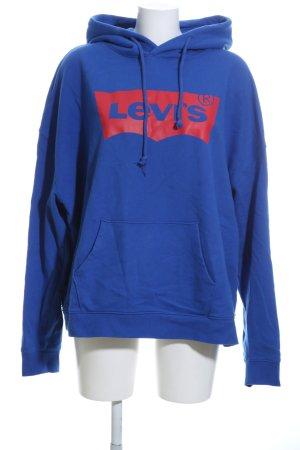 Levi's Capuchon sweater blauw-rood prints met een thema casual uitstraling