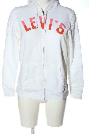 Levi's Kapuzensweatshirt weiß-rot Schriftzug gedruckt Casual-Look