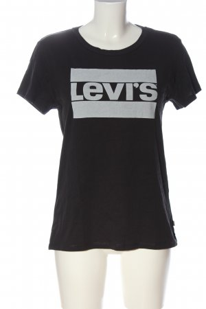Levi's Print-Shirt schwarz-hellgrau Schriftzug gedruckt Casual-Look