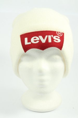 Levi's Knitted Hat natural white-red themed print casual look