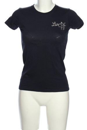 Levi's T-Shirt blau Schriftzug gestickt Casual-Look