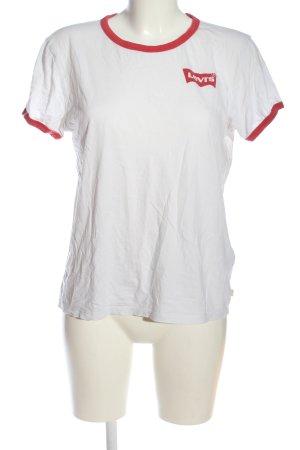 Levi's T-Shirt weiß-rot Schriftzug gedruckt Casual-Look