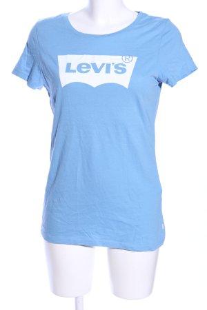 Levi's T-Shirt blau-weiß Schriftzug gedruckt Casual-Look