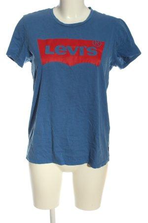 Levi's T-shirt bleu-rouge lettrage imprimé style décontracté