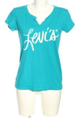 Levi's T-shirt turquoise-blanc cassé lettrage imprimé style décontracté