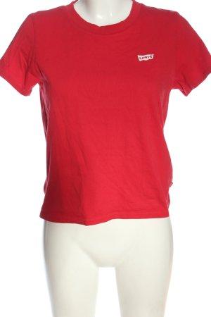 Levi's T-shirt rouge-blanc imprimé avec thème style décontracté