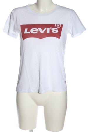 Levi's Maglia scollo a barca bianco-rosso caratteri stampati stile casual