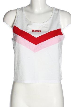 Levis Top recortado blanco-rojo estampado a rayas look casual