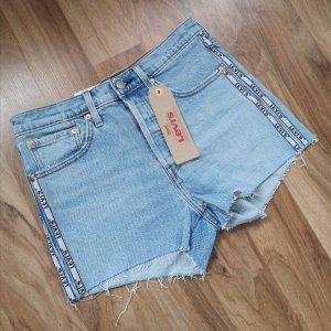 Levis Damen Jeans Shorts 501 Blau W27 hellblau