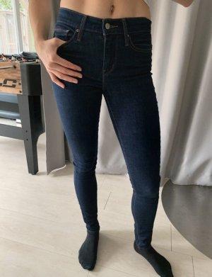 Levis Jeans hose high waste strech lang push blau dunkel