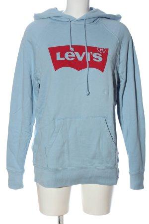 Levis Sweat à capuche bleu-rouge lettrage imprimé style athlétique