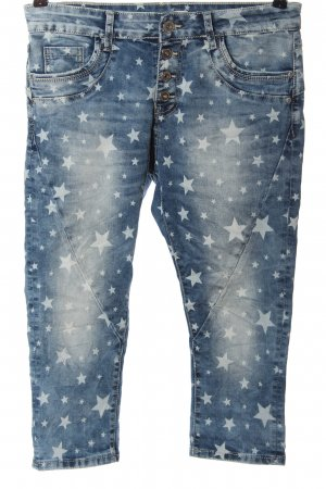 Lexxury 3/4 Jeans blau Allover-Druck Casual-Look