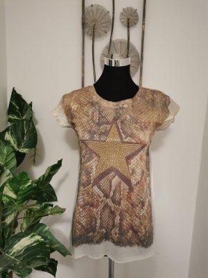 Lexxury Damen Shirt T-Shirt Sommershirt Star Strass Druck weiß Größe 38
