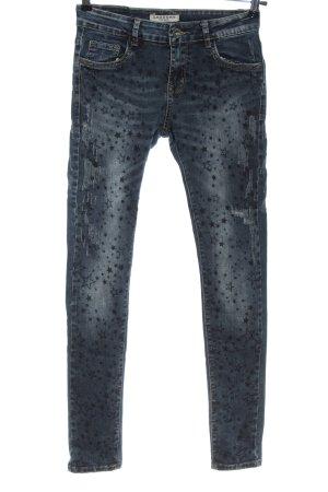 Lexxury Tube Jeans blue-black allover print casual look