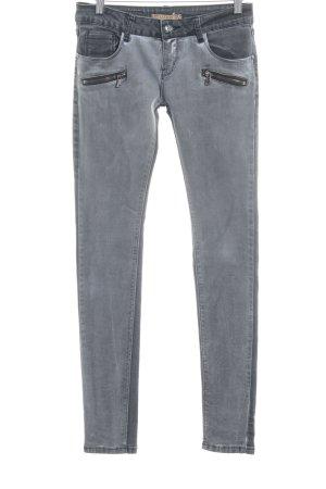 Lexxury Skinny Jeans hellgrau-grau Biker-Look