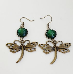 Libellen Ohrhänger gross mit Cabochon grün vintage Stil