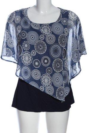 Liberty Kurzarm-Bluse blau-weiß abstraktes Muster Casual-Look