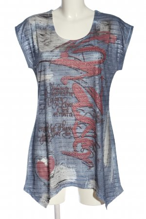 Liberty Camicetta a maniche corte blu-rosa Stampa a tema stile casual