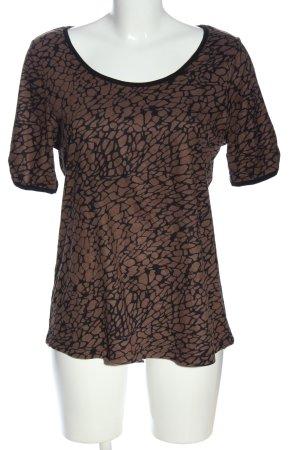 Liberty T-shirt marrone-nero stampa integrale stile casual