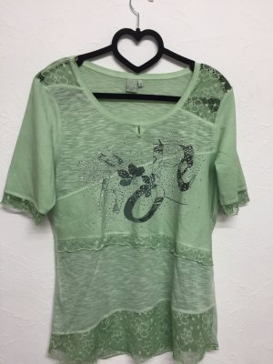 Liberty T-shirt imprimé vert clair-gris vert
