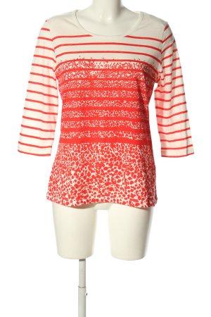 Liberty Maglietta a righe bianco sporco-rosso motivo astratto stile casual