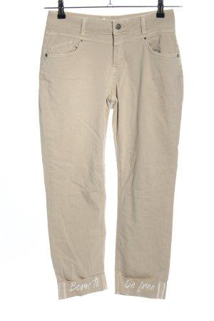 Liberty Stretch Jeans creme Schriftzug gedruckt Casual-Look