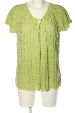 Liberty Giacca in maglia verde punto treccia stile casual