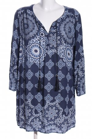 Liberty Tunikabluse blau-weiß grafisches Muster Casual-Look