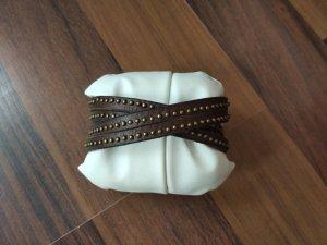 Liebeskind Bracelet en cuir brun foncé-brun noir