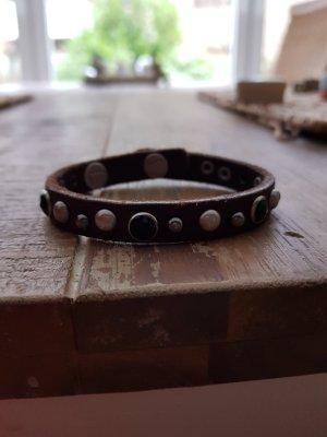 Liebeskind Berlin Bracelet en cuir gris brun