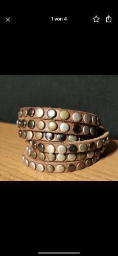 Liebeskind Leather Bracelet brown-silver-colored
