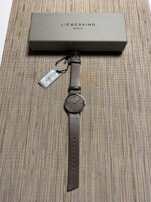 Liebeskind Montre avec bracelet en cuir gris brun