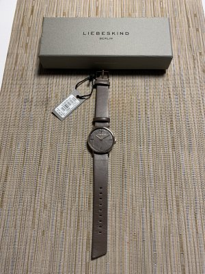 Liebeskind Watch With Leather Strap grey brown