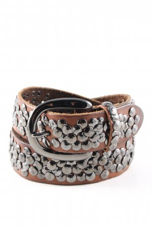 Liebeskind Berlin Leather Belt brown-silver-colored spot pattern casual look