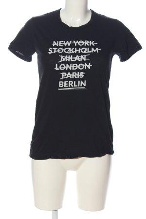 Liebeskind Berlin T-Shirt schwarz-weiß Schriftzug gedruckt Casual-Look