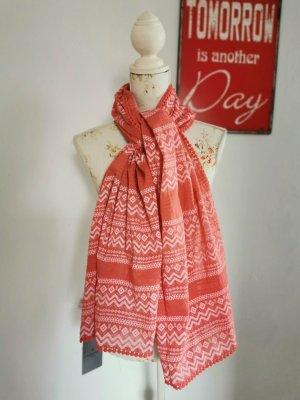 Liebeskind Crochet Scarf salmon-bright red cotton